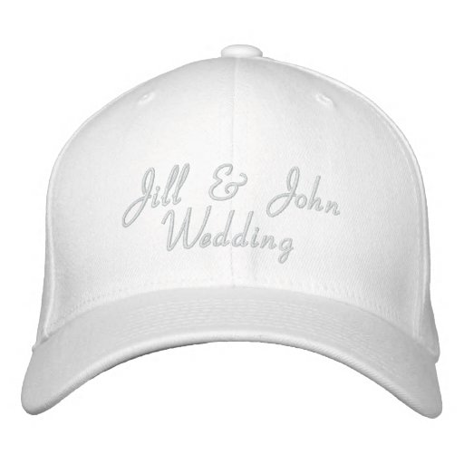 Wedding Party Bride & Groom Names White Hat Embroidered Baseball Cap