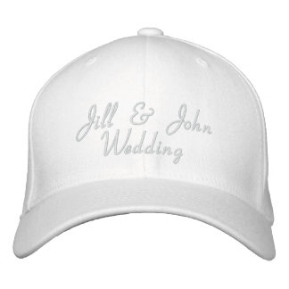 Wedding Party Bride Groom Names White Hat Embroidered Baseball Cap