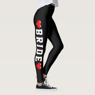 Wedding Party | Bride Red Heart Bachelorette Leggings