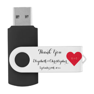 Wedding Party Favor Thank You Name Monogram USB Swivel USB 2.0 Flash Drive