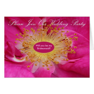 Wedding Party Invitation Rose Center Greeting Card