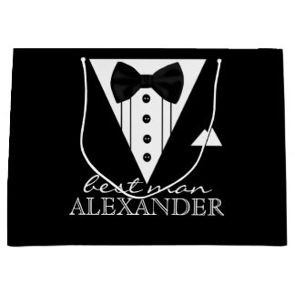 Wedding Party Personalized Best Man Tuxedo Large Gift Bag