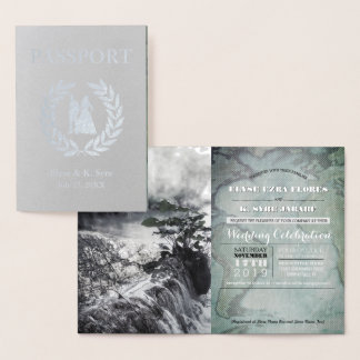 wedding passport silver foil foil card