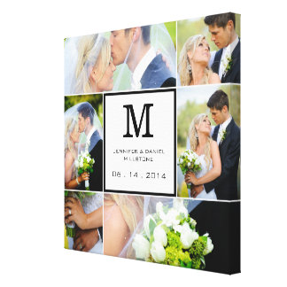 Wedding Photo Collage Template With Monogram Canvas Print