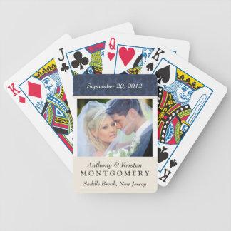 Wedding Photo Damask Personalised Playing Cards
