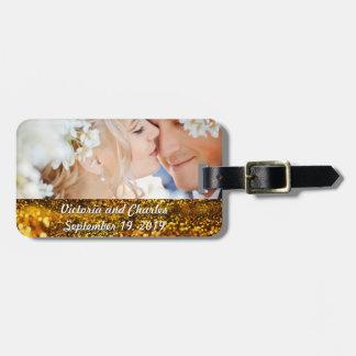 Wedding Photo Gold Glitter Wedding Luggage Tag