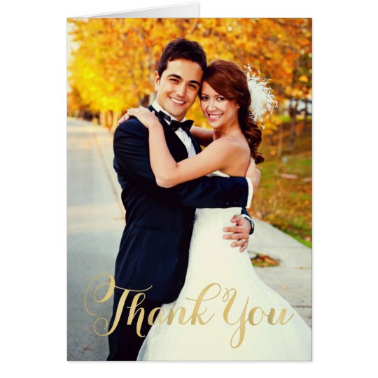 Wedding Photo | Gold Script Thank You Card