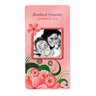 Wedding Photo Hibiscus Pink Floral  Wine Labels