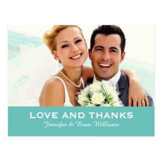 Wedding Photo Love and Thanks Cards | Custom Color Postcard