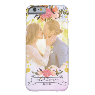 Wedding Photo Modern Floral Gold Foil Monogram Barely There iPhone 6 Case
