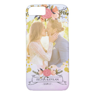 Wedding Photo Modern Floral Gold Foil Monogram iPhone 8/7 Case