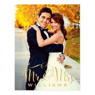 Wedding Photo Note Cards | Gold Mr. & Mrs. Script Postcard