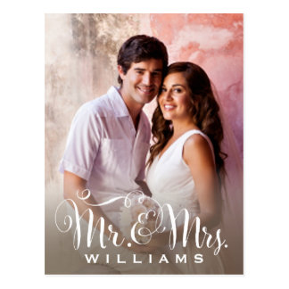 Wedding Photo Note Cards | Mr. and Mrs. Monogram Postcard