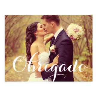 Wedding Photo Obrigado Note Cards | Postcard