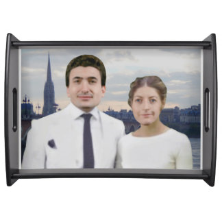 Wedding photo on serving tray