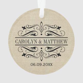 Wedding Photo Ornament | Flourished Monogram