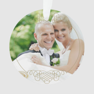 Wedding Photo Ornament | Mr. and Mrs. Gold Design