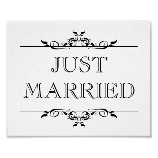 Wedding Photo Prop Sign Just Married Open Scroll Poster