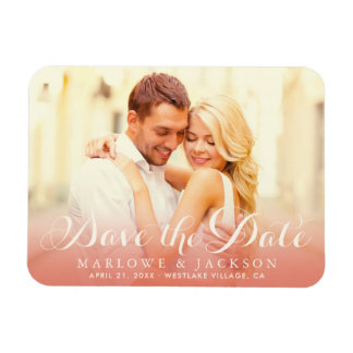 Wedding Photo Save the Date | Rose Gold Magnet