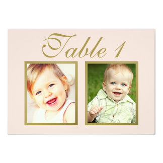 Wedding Photo Table Number | Blush Pink and Gold Card