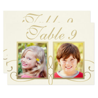 Wedding Photo Table Number Cards | Elegant Gold 13 Cm X 18 Cm Invitation Card