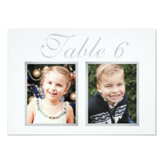 Wedding Photo Table Number Cards | Elegant Silver