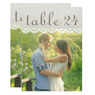 Wedding Photo Table Number Cards | Linen and Lace 13 Cm X 18 Cm Invitation Card