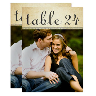 Wedding Photo Table Number Cards | Rustic Charm 13 Cm X 18 Cm Invitation Card