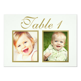 Wedding Photo Table Number | Ivory and Gold Card