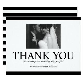 Wedding Photo Thank You Black and White Card