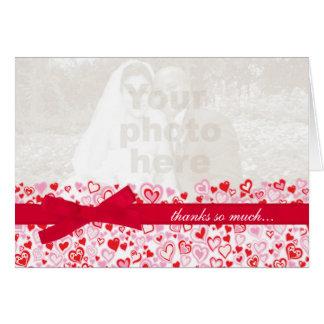 Wedding photo thank you card hearts & red ribbon