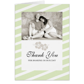 Wedding Photo Thank You Card with Hibiscus Flowers