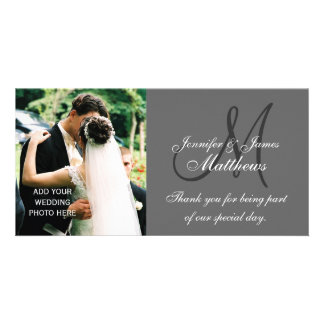 Wedding Photo Thank You Cards with Monogram