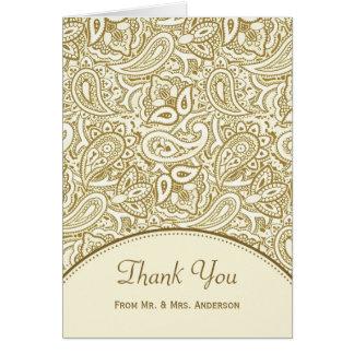 Wedding Photo Thank You Luxury Gold Ivory Paisley Greeting Card
