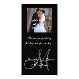 Wedding Photo Thank You Message Monogram Names Picture Card
