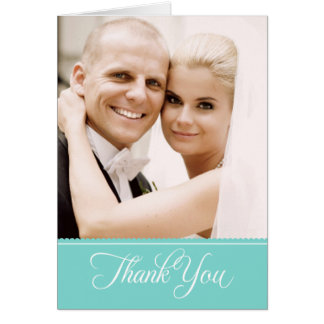 Wedding Photo Thank You Note Cards | Aqua Blue