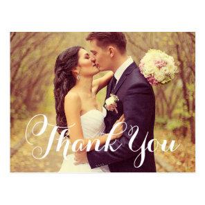Wedding Photo Thank You | White Elegant Script Postcard
