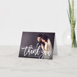 Wedding Photo with Brush Lettered Script Thank You Card