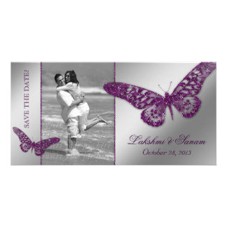 Wedding Photocard Save the Date Butterfly Purple Card