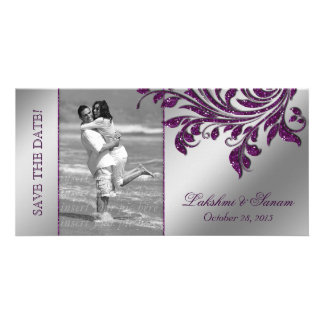 Wedding Photocard Save the Date Leaf Purple Silver Card