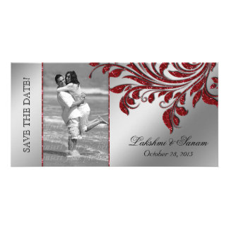 Wedding Photocard Save the Date Leaf Red Silver Photo Card Template