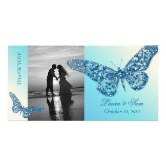 Wedding Photocard Thank You Butterfly Blue Photo Card Template