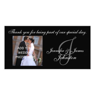 Wedding Photograph Thank You Card Monogram J