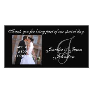 Wedding Photograph Thank You Card Monogram J Custom Photo Card