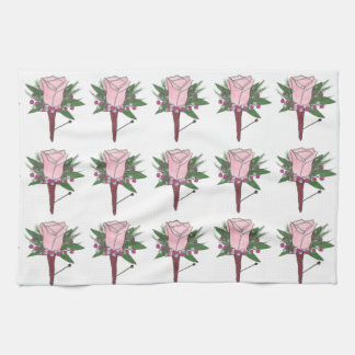 Wedding Pink Rose Boutonniere Bouquet Floral Towel