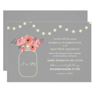 Wedding | Pink Watercolor Flowers & Mason Jar Card