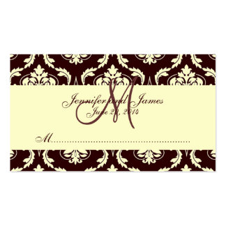 Wedding Place Cards Brown Ivory Damask Pack Of Standard Business Cards