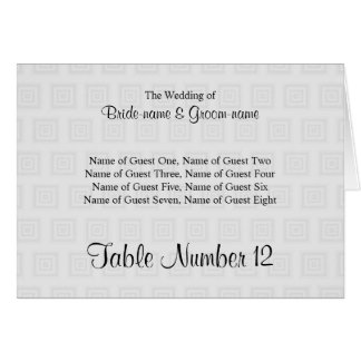 Wedding Place Cards Design Pale Gray Squares