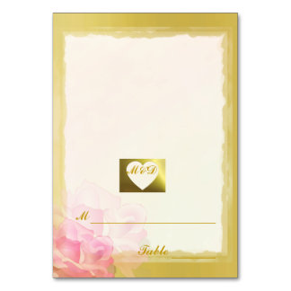 Wedding Place Cards Golden Edge Flowers Collection