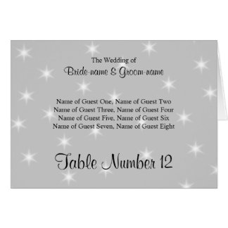 Wedding Place Cards Pale Gray with White Stars
